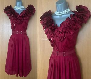 KAREN-MILLEN-UK-12-Dark-Red-Silk-Frilled-Front-Cocktail-Party-Prom-Flare-Dress