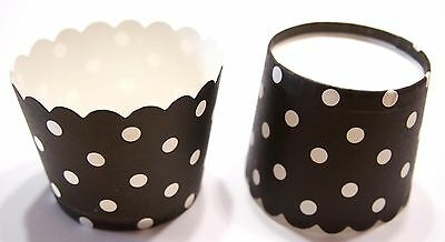 30 x White dot Black Round Muffin paper case cupcake Baking Cups 4.5x5cm NEW!
