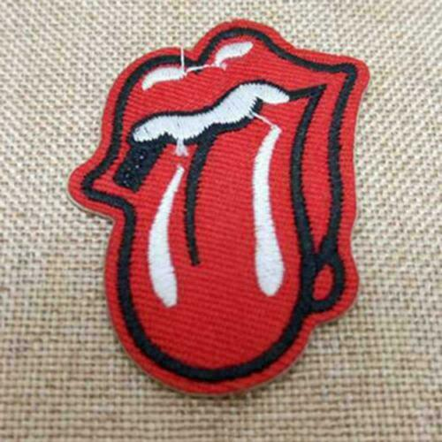 Red Mouth Tongue Rolling Stones Sew On Patch bestickte Badge Jacket