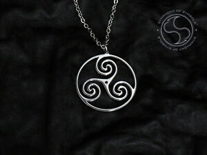 Triskelion Symbol Pendant Stainless Steel Necklace Logo Triple Spiral Sign