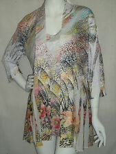 IMPULSE COLLECTION   TRAVEL KNIT  JACKET & TUNIC  MED  WILD GARDEN