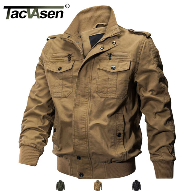 be3728b96 TACVASEN Men's Military Cargo Jacket Cotton Coats MA-1 Airborne Bomber  Jackets
