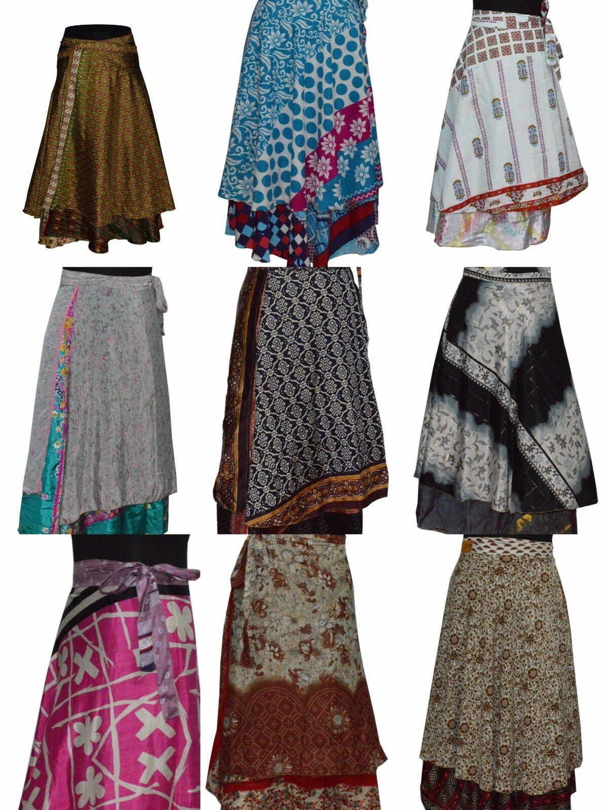 Indian Wrap Around Skirt Wholesale lot of 5 Pcs Printed Reversible Two Layer