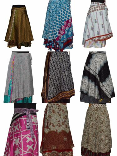 Indian Wrap Around Skirt Wholesale lot of 20 Pcs Printed Reversible Two Layer