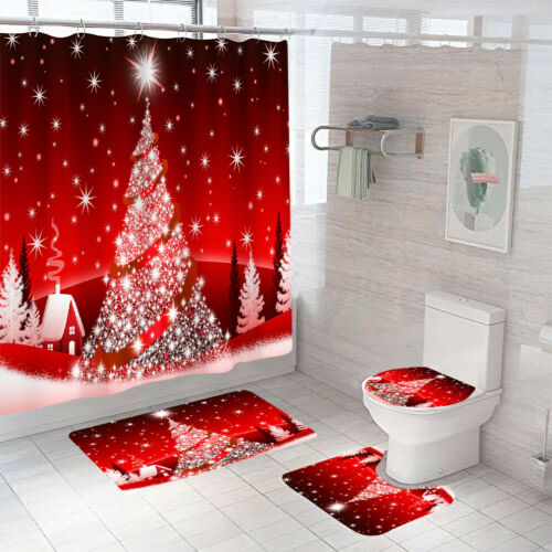 Merry Christmas Shower Curtain Bathroom Rugs Bath Mat Non-Slip Toilet Lid Cover