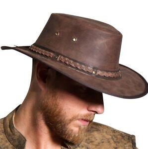 Homme-Mode-en-Cuir-Veritable-Marron-Squashy-Australien-Style-Bush-Hat