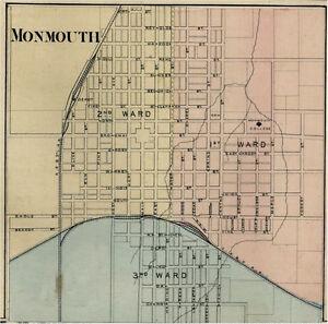 Monmouth Illinois Warren Co Il 1876 Map Genealogy Ebay