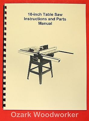 """JET//Asian JTS-10 10/"""" Contractor Table Saw Operator/'s /& Parts Manual 0381"""
