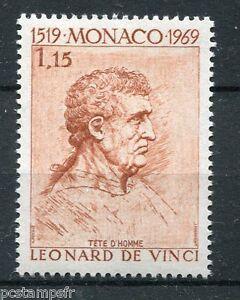 Monaco 1969, Timbre 803, Leonard De Vinci Tableau Tete D' Homme, Neuf** Techniques Modernes