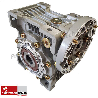 Size 75 Right Angle Worm Gearbox 50:1 Ratio 56 RPM Motor Ready Type NMRV