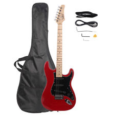 "40"" Basswood Electric Guitar w/Bag Strap Spanner Tool Power Wire Plectrum, Red"