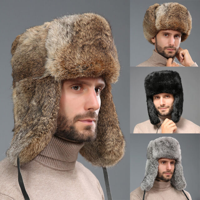 RUSSIAN STYLE WINTER HAT WARM WITH REAL GREY RABBIT FUR FLAPS BLACK TRAPPER