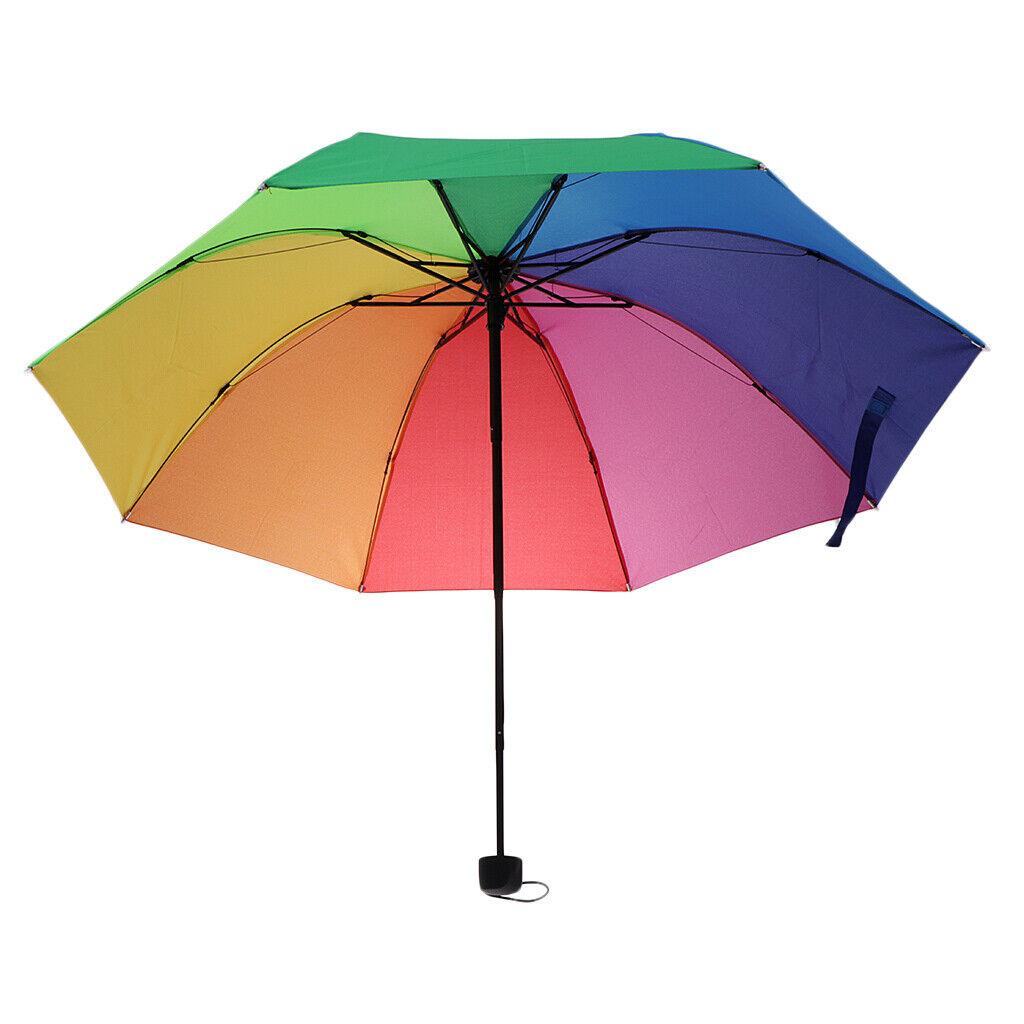Super Windproof Outdoor Sun/Rain 3 Fold Handle Umbrella Parasol Unisex