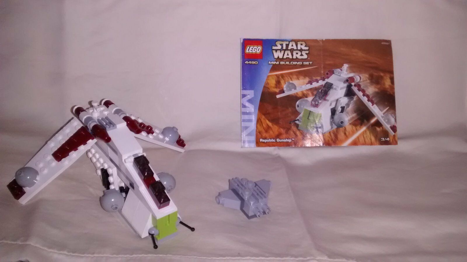Lego Star Wars 4490 Mini Building SET Republic Republic Republic Gunship 100% Complete 85710e