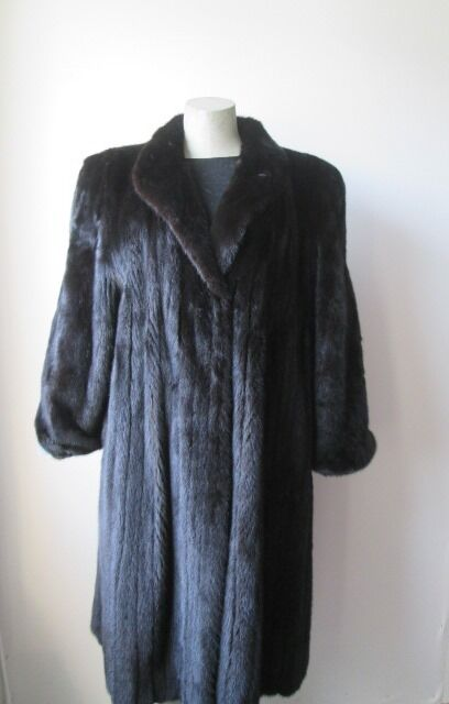Women's Sz 12 Dark Ranch FEMALE FEMALE FEMALE Mink Fur Coat SUPERB Clearance Sale 1a9612