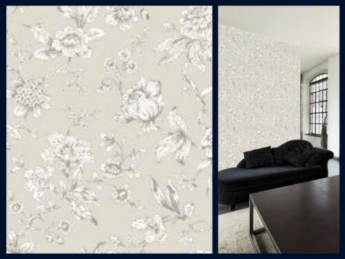 Shabby Chic Design Studio-Jardin Fleur Gris Toile-Smooth Papier Peint 173101