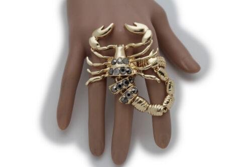 Women Gold Metal Rhinestones 2 Fingers Fashion Big Scorpion Ring Elastic Band