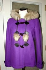 NWT Juicy Couture Pom Pom Wool Coat With Faux Fur Hood Winter Jacket Outerwear S