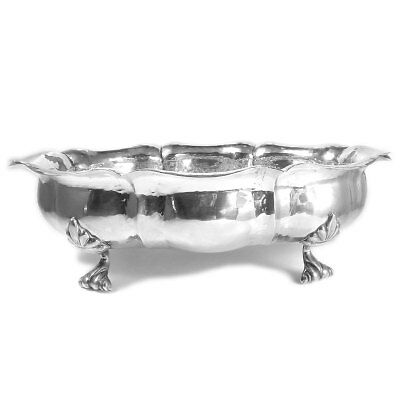 Ovale Silber Schale im Barockstil auf Füßchen GREGGIO 800 Silber Handarbeit 26cm