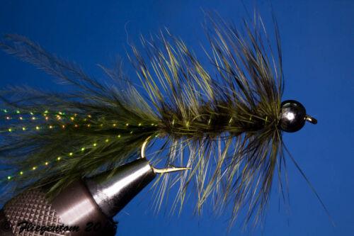 Fliegentom Picker 3 Pièce Wooley Bugger avec kopfperle dunkeloliv
