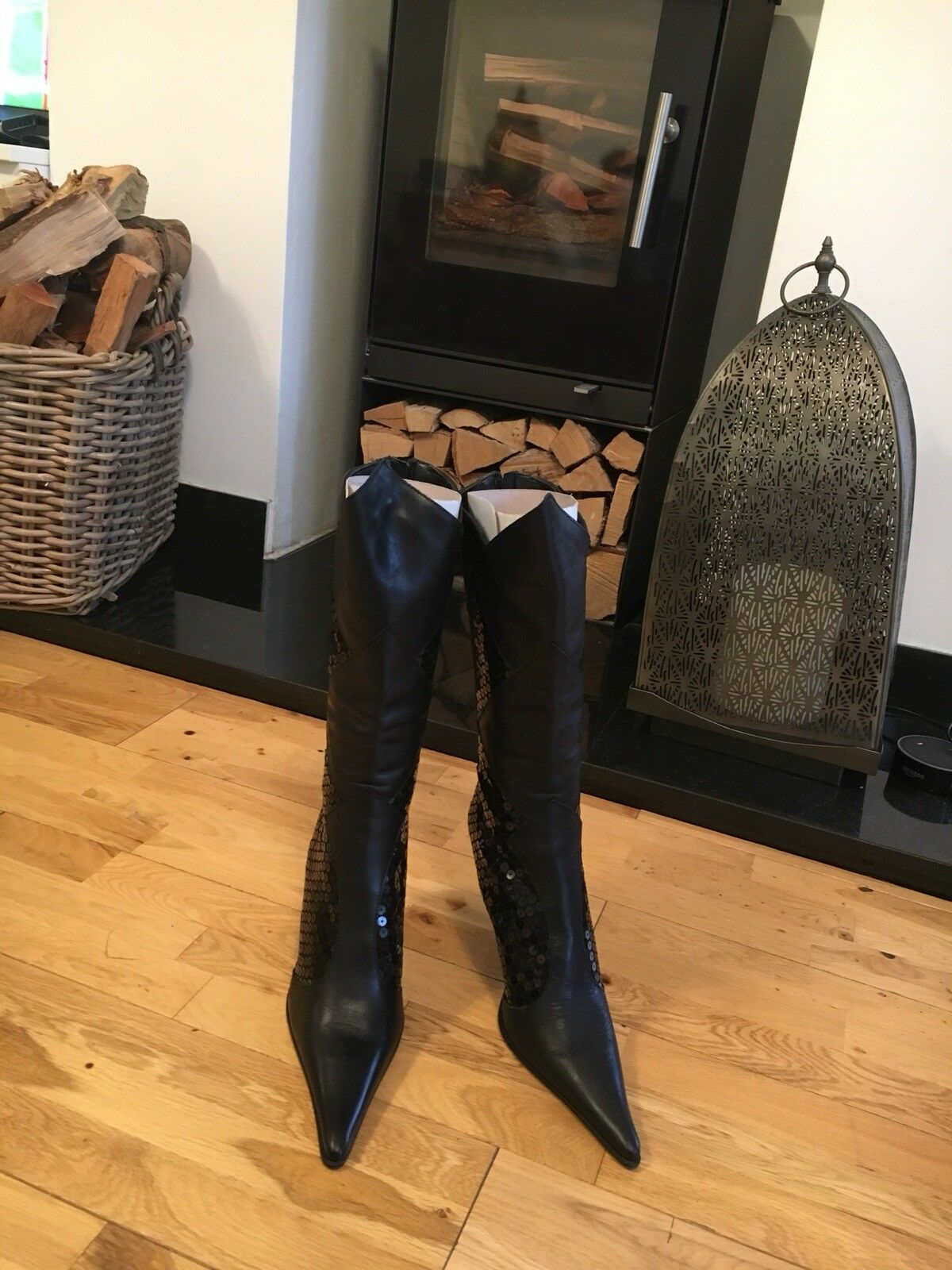Ravel Black Leather Sequin Boots Size 39