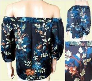 New-Ex-Dorothy-Perkins-Black-Floral-Cold-Shoulder-Blouse-Top-Size-10-14