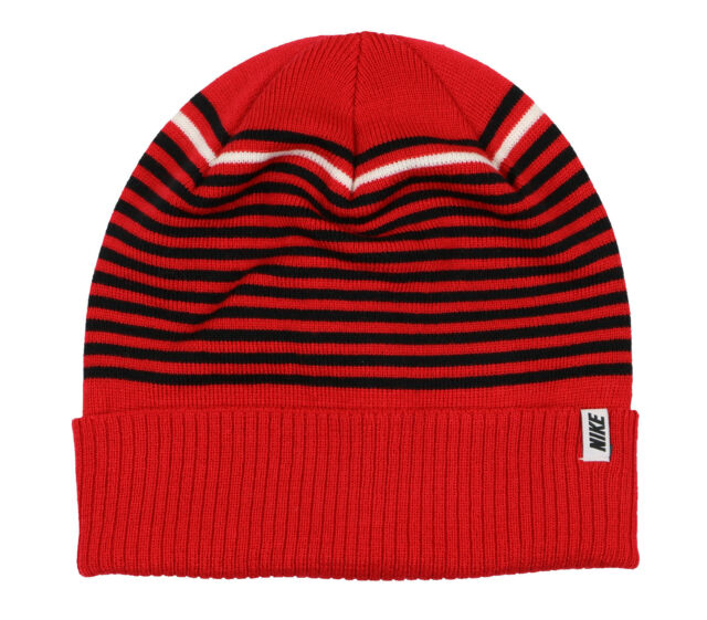 e6e04525909a NIKE Striped Novelty Beanie Adult One Size Fits Most University Red Black  ACG