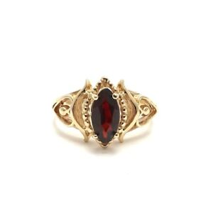 Vintage-10k-Gold-Marquise-Garnet-January-Birthstone-Hearts-Child-Pinky-Ring-sz4