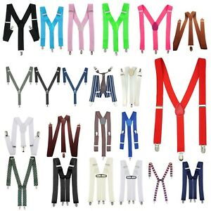 Para-Hombre-35mm-Ancho-Ajustable-Tirantes-Tirantes-Elastico-Clip-en-Pantalones-Jeans