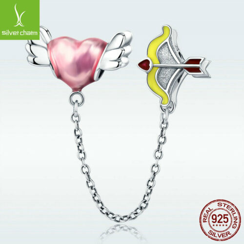 Real 925 Sterling Silver Charm Bead Wing Heart /& Cupid Arrow Love Wish Fit Chain