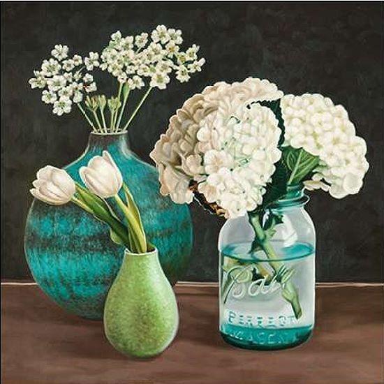 Pierre Benson  Petit Fleuriste I Keilrahmen-Bild Leinwand Vasen Blaumen Landhaus