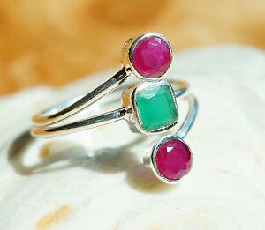 Silberring-Rubin-Smaragd-60-Handarbeit-Breit-Pink-Silber-Ring-Schlicht-Gruen-Mode