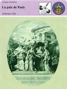 FICHE-CARD-Traite-de-Paix-de-Paris-10-Fevrier-1763-Grande-Bretagne-France-90s