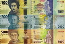 INDONESIA - Lotto 3 banconote 1000/2000/5000 Rupiah 2016 FDS - UNC