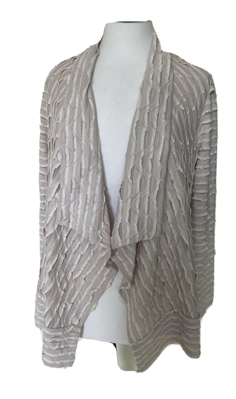 CHESCA : Cream & Stone Ruffle Striped Waterfall Jacket Size 2 = 14 / 16