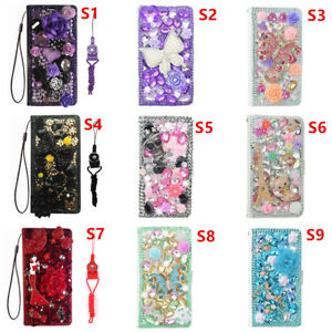 Luxury-Leather-Flip-Bling-Diamond-Wallet-Case-Girls-039-Phone-Cover-with-strap-29
