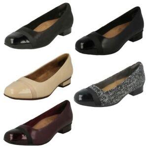 Damen-Clarks-Slipper-Leder-Ballerina-Stil-Flache-Keesha-Rosa