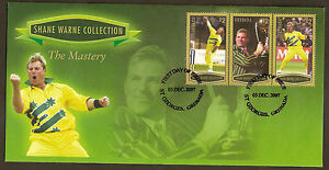 GRENADA-2007-SHANE-WARNE-CRICKET-THE-MASTERY-3v-GOLD-Borders-FIRST-DAY-COVER