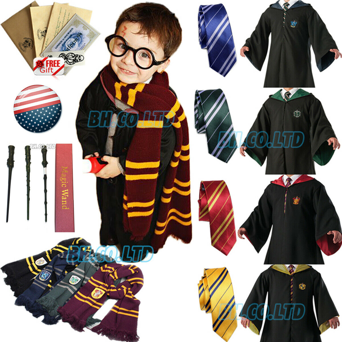 Gryffindor Lightweight Scarf Harry Potter Hermione Halloween Costume Accessory