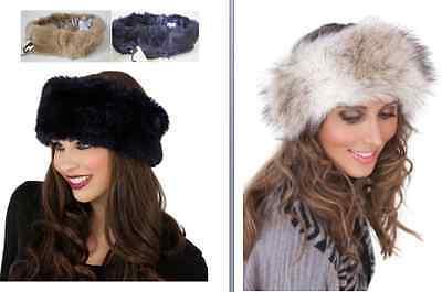 Ladies Luxury Great Quality Faux Fake Fur Hat HeadBand Winter Earwarmer Hat Ski