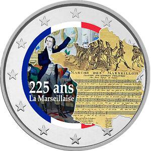 2-Euro-Gedenkmuenze-mit-Marseillaise-coloriert-Farbe-Farbmuenze-Frankreich
