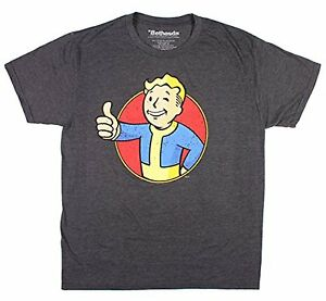 Fallout-Boy-Character-Red-Circle-Charcoal-Heather-Men-039-s-T-shirt-New