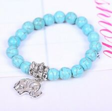 Ethnic Natural Turquoise Beaded Elephant Tibet silver Anti-fatigue Bracelet