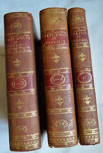 1803 Chefs d'œuvre de P. Corneille 5 tomes en 3 volumes reliure plein cuir