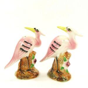 Vintage-Salt-Pepper-Shakers-Set-Pink-Heron-Stork-Crane-Painted-Bird-Japan-INV193