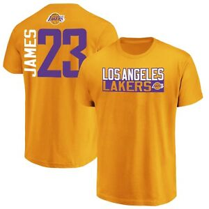 991410a2f LeBron James Los Angeles Lakers Fanatics Vertical Name Number Gold T ...