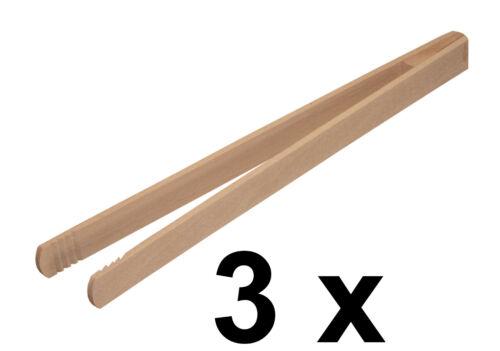 3 x Grillzange Grillbesteck Wurstzange Grillbesteck aus Buchenholz Länge 30 cm
