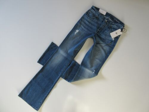 NWT 7 For All Mankind /'A/' Pocket in Red Cast Heritage Stretch Flare Jean 25 x 33