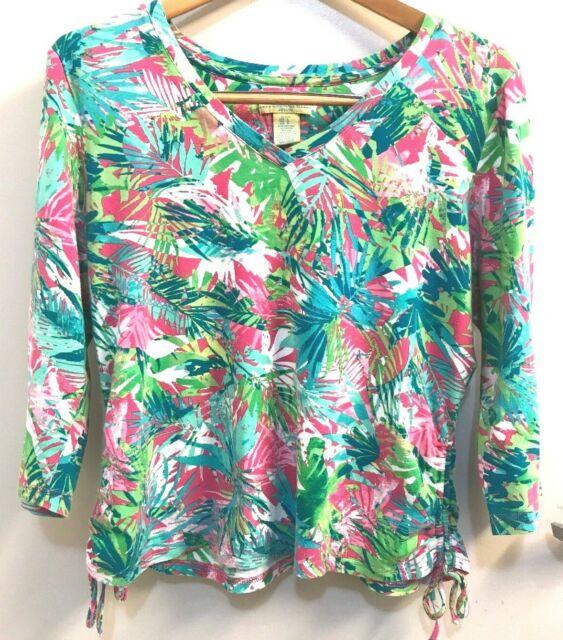 Caribbean Joe Island Supply Co PETITE Large TOP Tropical Pink/green Blouse SHIRT