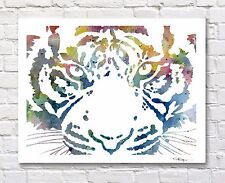 Blue Tiger Abstract Watercolor Painting Art Print by Artist DJ Rogers